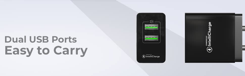 Travel Friendly Wall Charger Adapter with 2 USB Ports