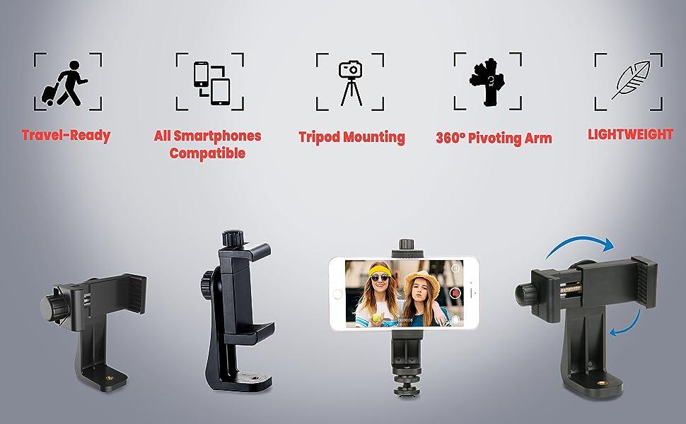 360degree mobile holder, full rotation mobile holder for tripod, tripod accessories, mobile tripod