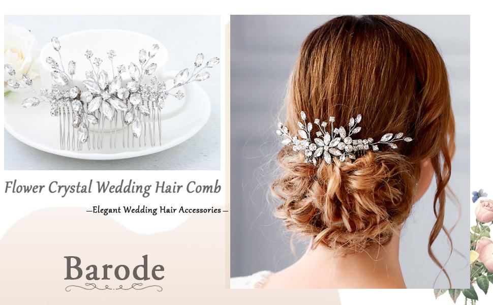 Silver Flower Wedding Bridal Hair Comb REBA