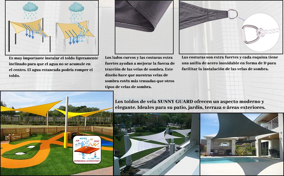 SUNNY GUARD Toldo Vela de Sombra Rectangular 2x2m Impermeable a Prueba de Viento protección UV para Patio, Exteriores, Jardín, Color Antracita: Amazon.es: Jardín