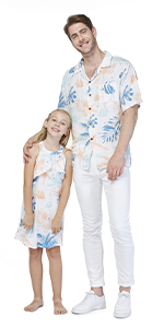 Father Daughter Matching Sets Hawaiian Style Sandy Beach