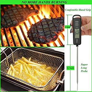 safe super extra long probe good grade stainless steel away from the heat fire grill bbq oven