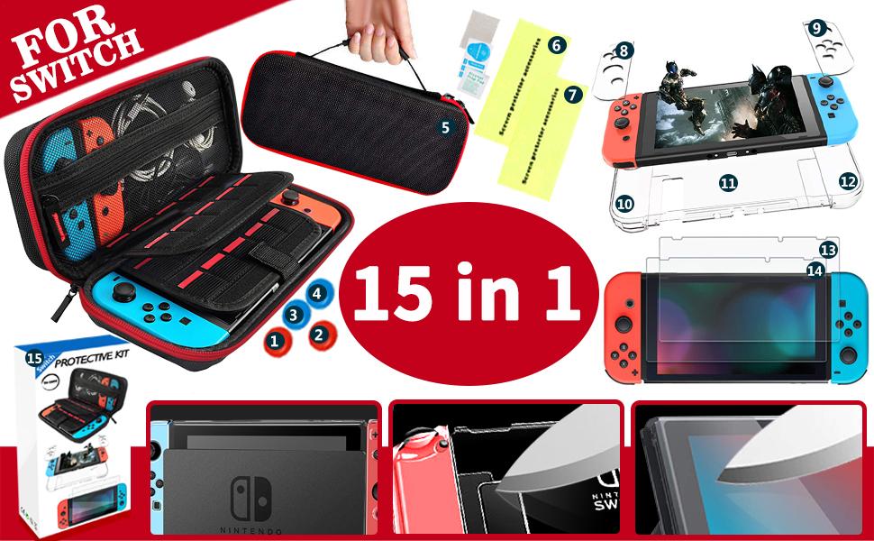 Th-some Kit de Accesorios 14 en 1 para Nintendo Switch, Funda Protectora para Interruptor Nintendo, Cubierta Transparente para Interruptor, Protector de Pantalla, Tapas Empuñadura de Pulgar: Amazon.es: Electrónica