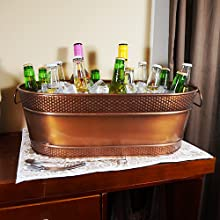 colt, antique, copper, oval, ice, bucket, tub, hammered, beverage, wine, beer, party, event