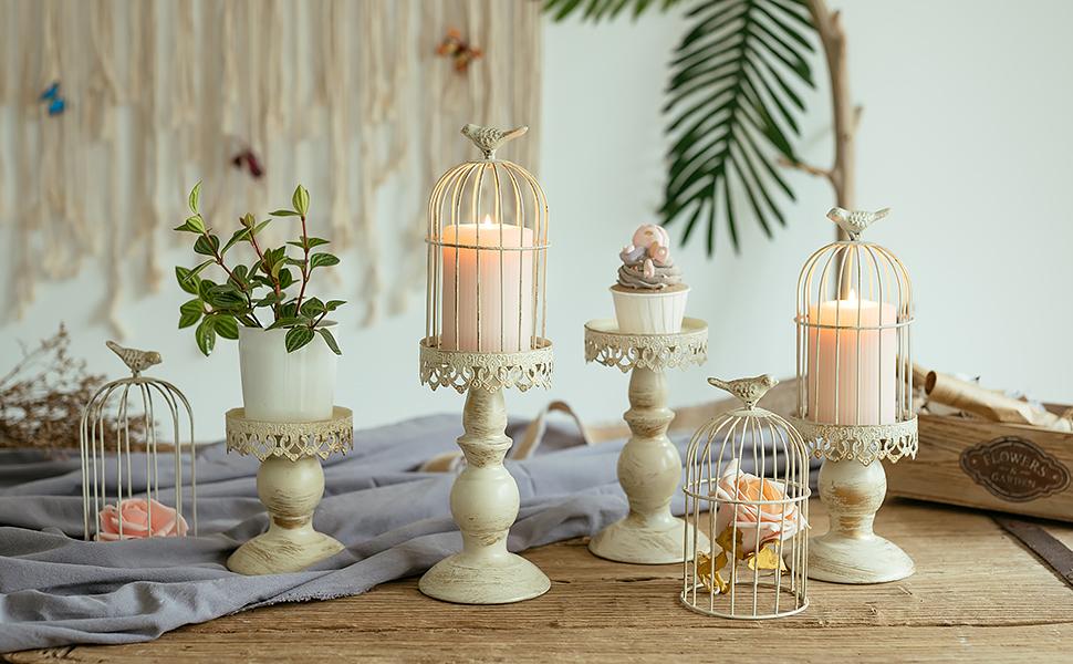 decorative birdcage candleholder set