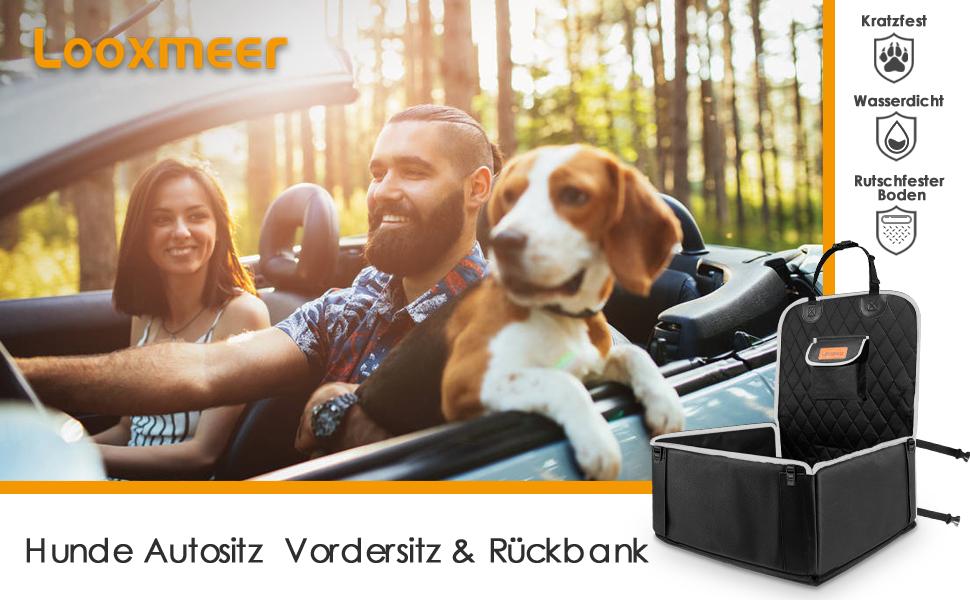 Looxmeer Hunde Autositz Für Kleine Mittlere Hunde Vordersitz Rückbank Hundesitz Auto Mit Sicherheitsgurt Und Verstärkter Wände Wasserdicht Reißfest Hundedecke Autosittzbezug Für Autoschutz Grau Haustier