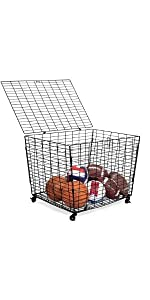 Sports Ball Basket Organizer with Wheels