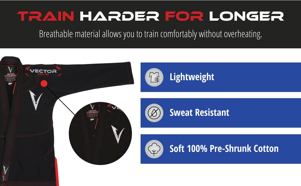 TRAIN HARDER FOR LONGER Breathable material allows you to train comfortably without overheating