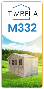 tall slim small wood garden shed pine spruce natural colour color 418 x 220 cm 8 m² m332