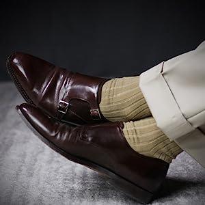 Ribbed Khaki Over the Calf Dress Socks for Men