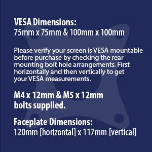 MX150 Monitor arm VESA measurements