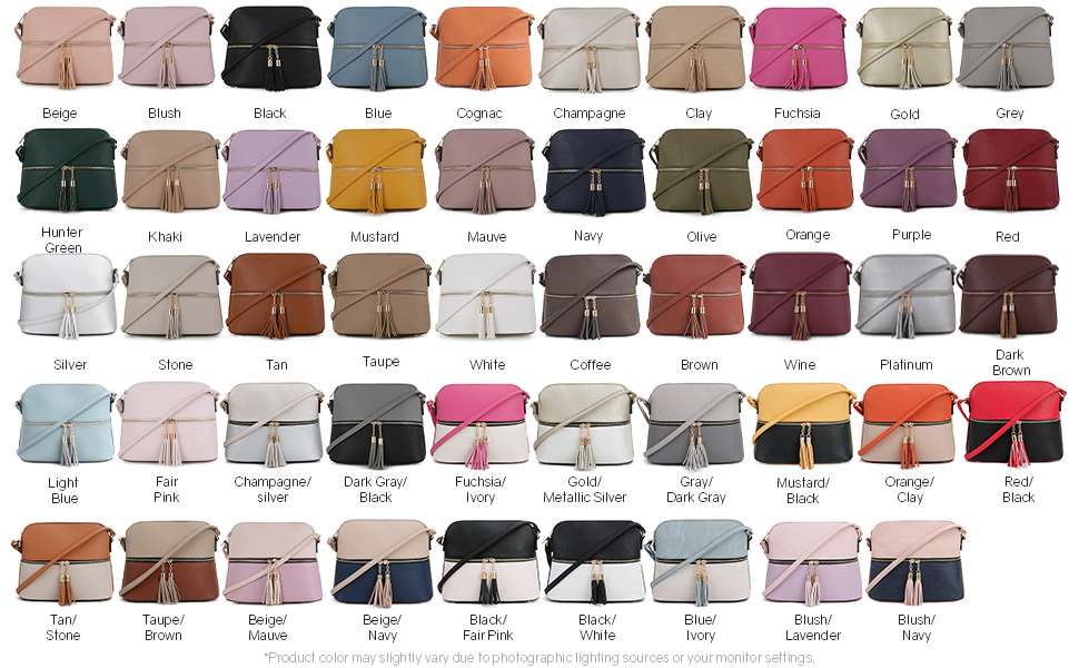 Sugu crossbody bag color options