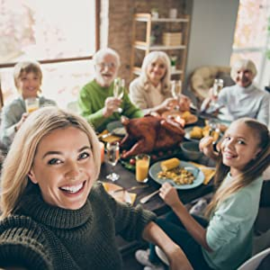 family grandparents dinner table celebrate happy healthy safe