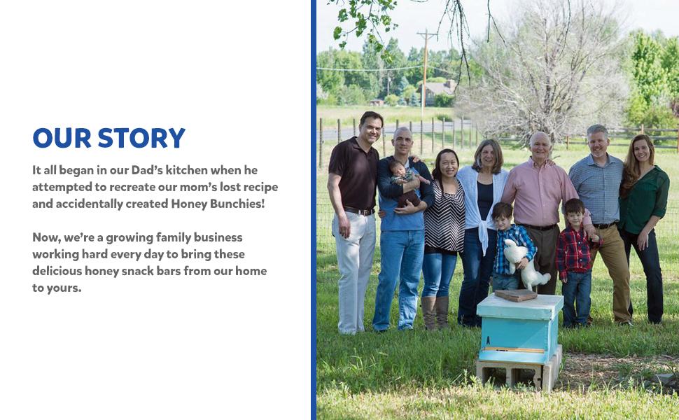 Honey Bunchies origin story, honey bar, honey snack bar, all natural snack bar, energy bar