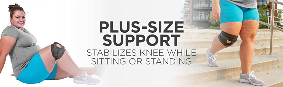 Patellar tracking knee brace for plus size support