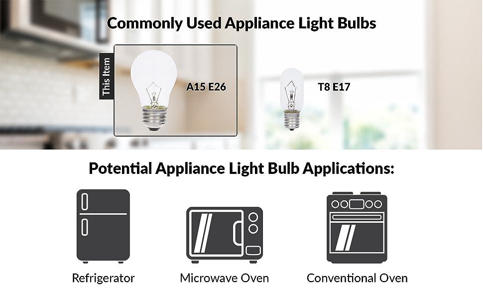 simba lighting common appliance light bulbs a15 e26 t8 e17 applications oven microwave refrigerator