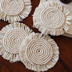 hygge & cwtch macrame coasters set