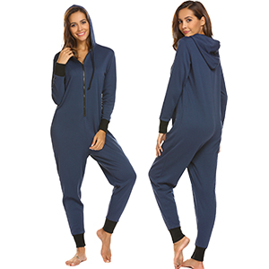 Ekouaer Women Adult Pajamas Hooded Jumpsuit