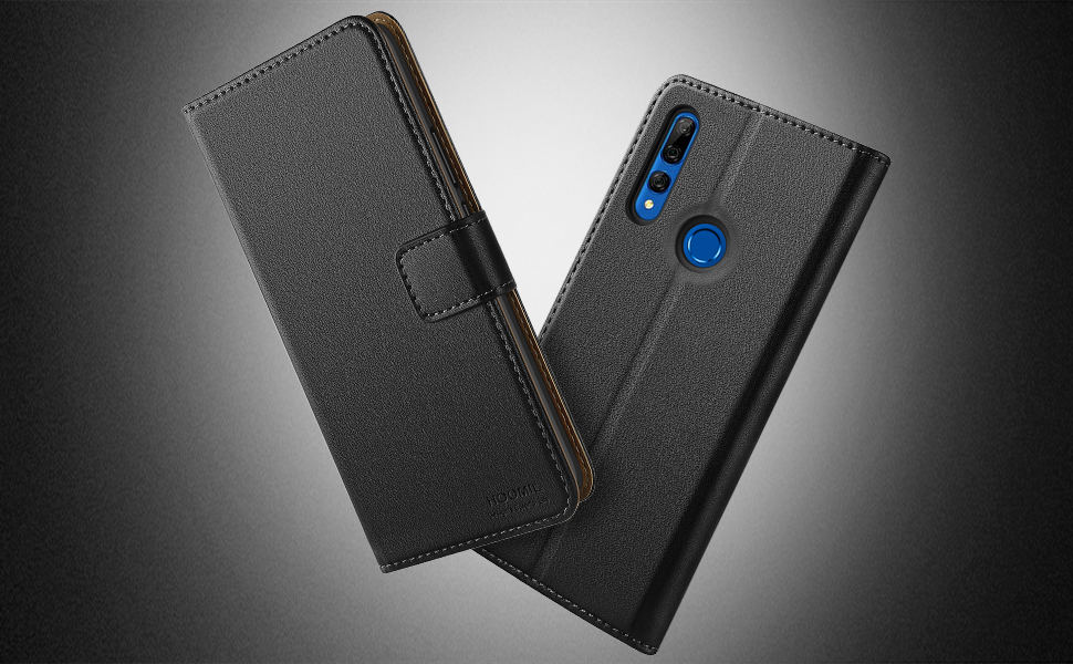 HOOMIL Case Compatible with Huawei P Smart Z, Premium PU-Leather Flip Wallet Phone Case for Huawei P Smart Z/Y9 Prime 2019 Cover (Black)