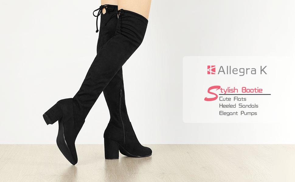 Allegra K Women's Round Toe Chunky Heel