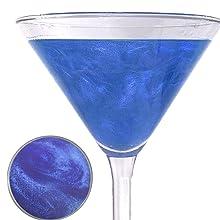 sapphire cocktail glitter, cocktail sparkle, cocktail glitter, cocktail garnish, cocktail decorating