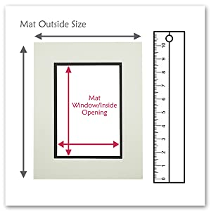 golden state art double mat with mat outside size and mat opening measurement