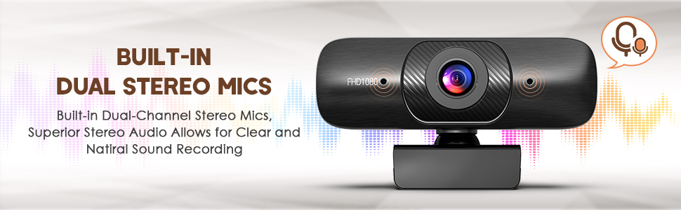 dual stereo mics webcam for recording