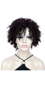 Short Afro Kinky Curly Fluffy Wig Deep Wine Curly Wigs