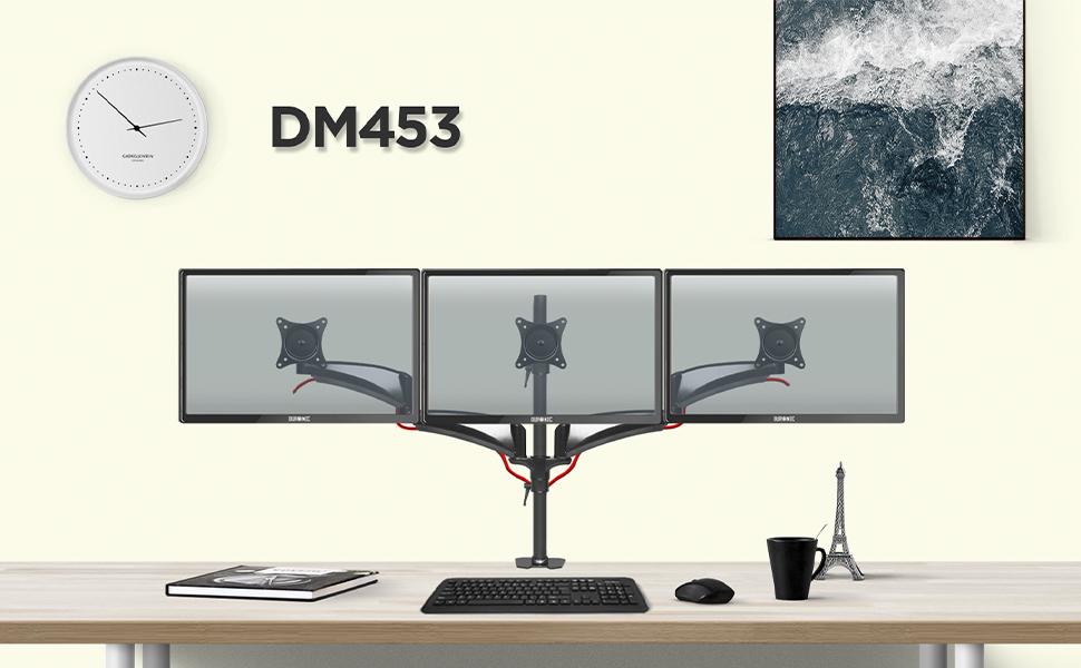 Duronic DM453 Soporte para 3 Monitores PC con Brazo de Escritorio ...