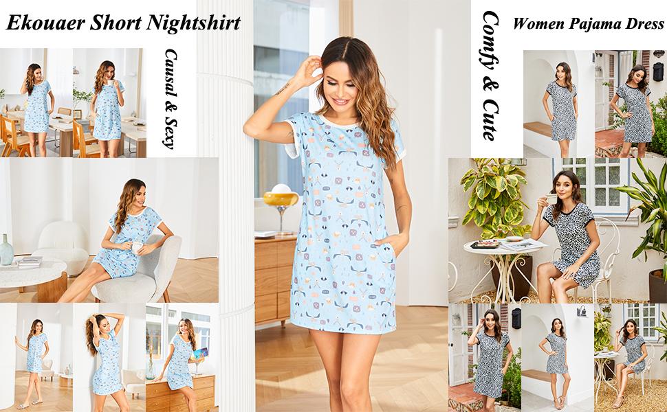Ekouaer Women Sexy Nightshirts