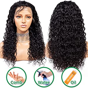 human hair lace frontal wigs human hair wig brazilian hair water wave wet and wavy human hair wigs