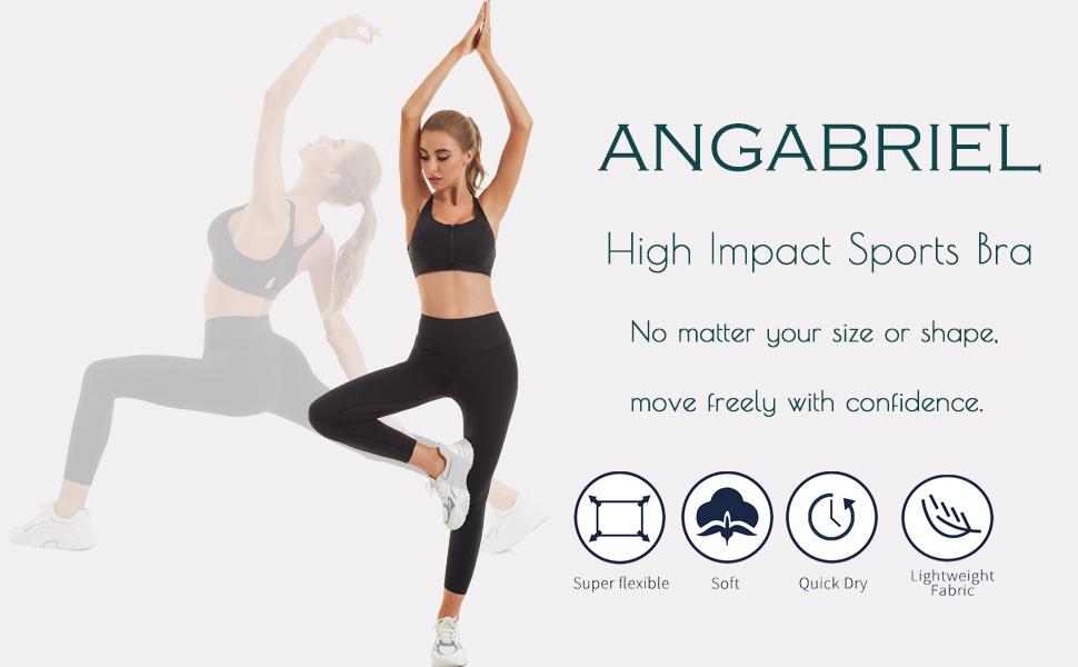 ANGABRIEL Women's Front Zipper Closure Sports Bra High Impact Support Racerback Workout Sports Bras