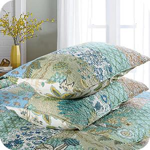 Aqua Floral Boho Pattern Bedspread Set