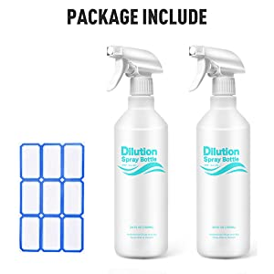 Bleach//Vinegar Safe with Measurements No Leak and Clog 2 Pack, 24 Oz Mist /& Stream Heavy Duty Empty Water Sprayer Bottles Airbee Plastic Spray Bottle with Dilution Ratio for Cleaning Solutions