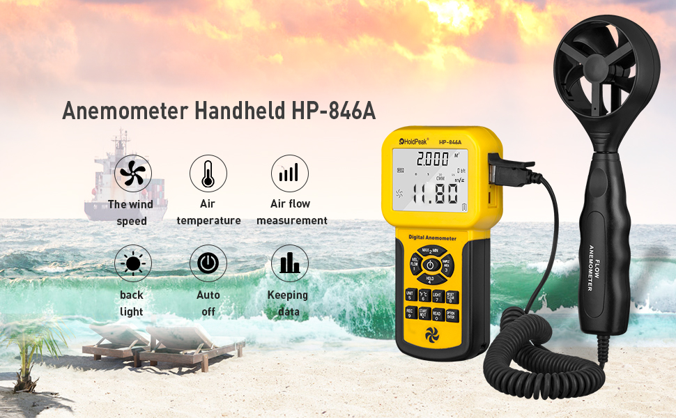 HOLDPEAK 846A Digital Anemometer for CFM with LCD Display for Wind Speed,  Air Velocity, Air Flow, Temperature Measurement,Anemometer Handheld with