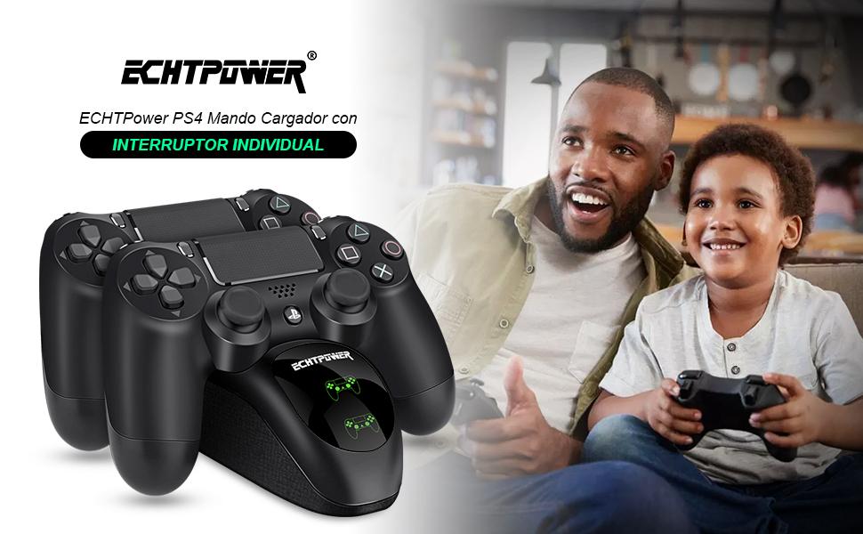 ECHTPower Cargador Mando PS4, Estación de Carga USB ...