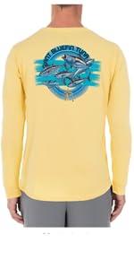 guy harvey, long sleeve pocket tee, long sleeve tee, mens apparel, sun protection shirt, mens top