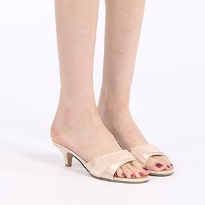 Women's Open Toe Low Kitten Heel Mules Slide Sandals,Simple Slip On Open Back Slip Resistant Slipper