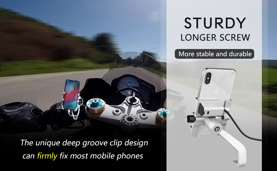 Fxhan Aluminium Alloy Motorcycle Rearview Mirror Mount Handlebar Rearview Mirror Adapter Mobile Phone Bracket Expansion Bracket gray