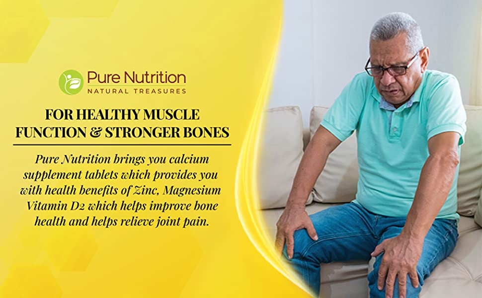 Pure Nutrition Calcium for Men and Women with Vitamin D, Magnesium & Zinc, Supports Strong Bones