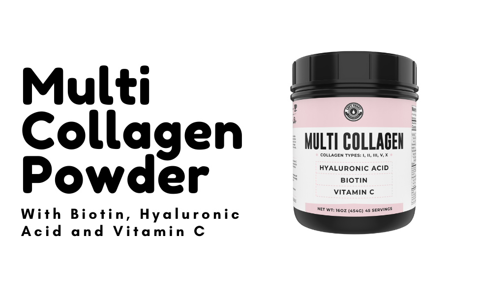 Multi Collagen Peptide Powder with Biotin, Hyaluronic Acid and Vitamin C for women, nails, hair