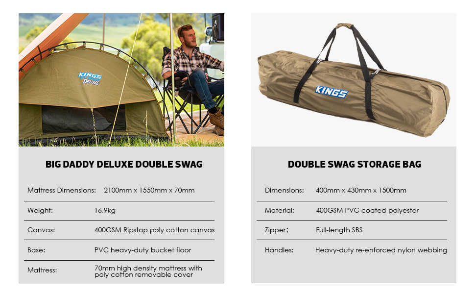 Adventure Kings 'Big Daddy' Deluxe Double Swag + Swag Polyester Bag