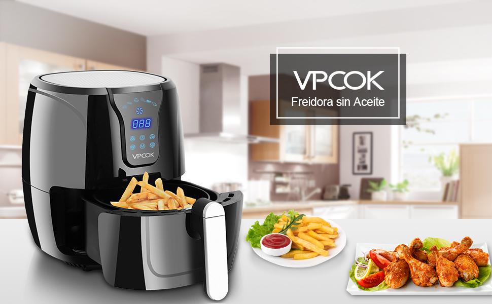 VPCOK Freidora sin Aceite, 3,6L Freidora de Aire Caliente con 6 ...