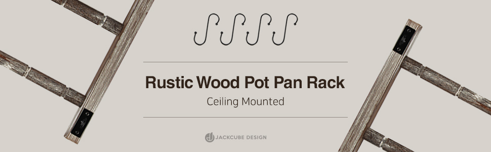 rustic wood pot pan rack ceiling mounted