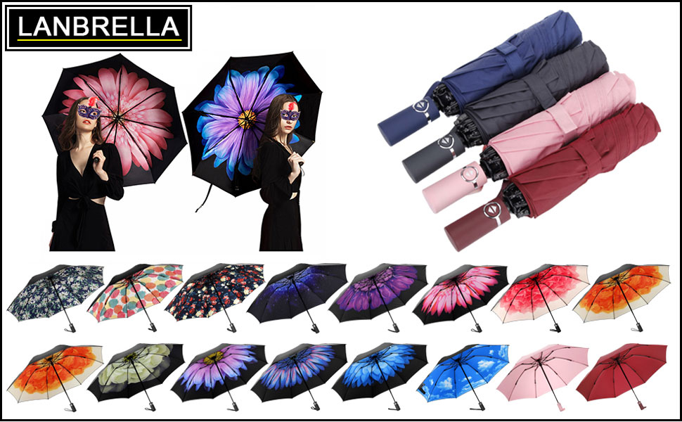 LANBRELLA Umbrella Windproof Travel Umbrella Compact Folding Reverse Umbrella