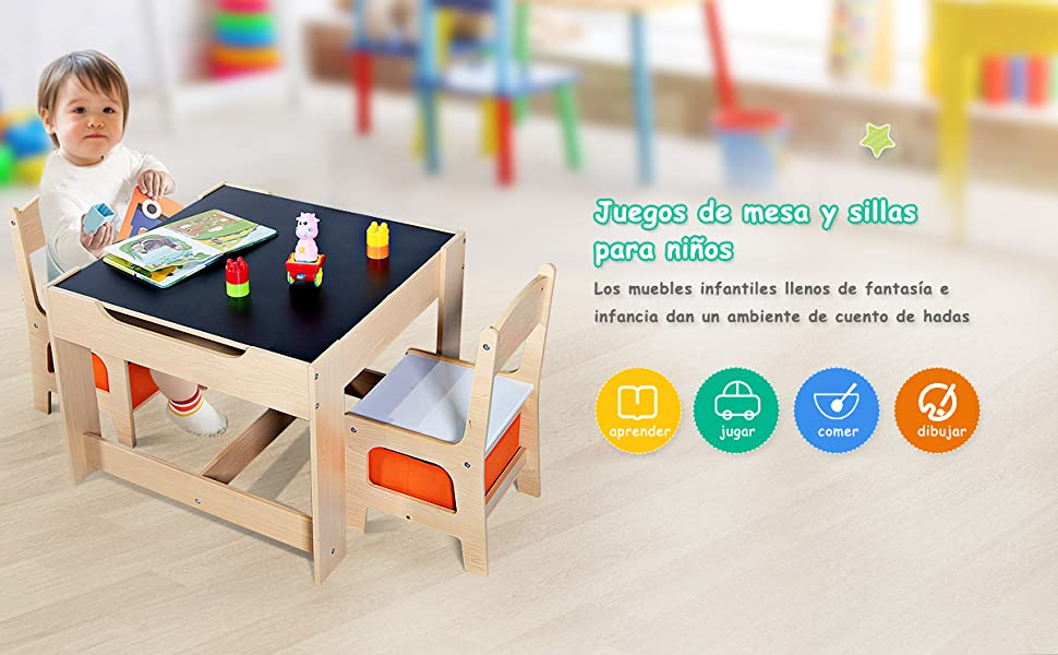 COSTWAY Juego de Mesa y 2 Sillas para Niño Mueble Infantil ...