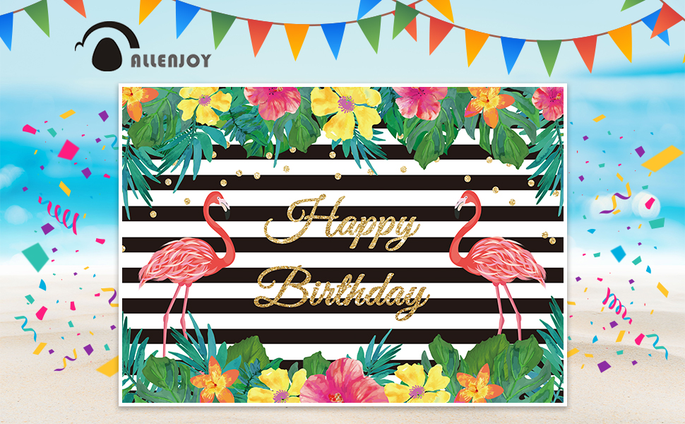 Summer Flamingo Party Happy Birthday Party Black and White Banner Backdrop