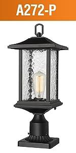 Beionxii Outdoor Post Lights Modern Exterior Pillar Light Pole Lamp Pier Mount Light Black Aluminum