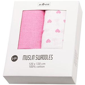 Zollner 2 mantas de muselinas de algodón para bebé, 120x120 cm, corazones rosas: Amazon.es: Bebé
