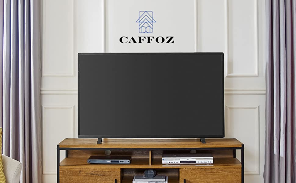 Amazon Com Caffoz Wide Entertainment Center Tv Media Stand Furniture Designs With Two Doors And Storage Shelves Sturdy Easy Assembly Brown Oak Wood Look Accent Furniture With Metal Frame